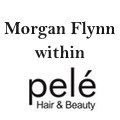 Morgan Flynn within Pele Hairdressing logo