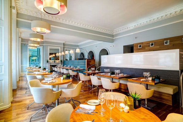 £40 means two people can share a bottle of house wine and three courses each from the Wine and Dine menu in the airy dining room at Elliot's Restaurant.